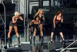 Nicole Scherzinger (downblouse), Melody Thornton, Jessica Sutta, Ashley Roberts, Kimberly Wyatt of the Pussycat Dolls at the sound check for Jimmy Kimmel Live.